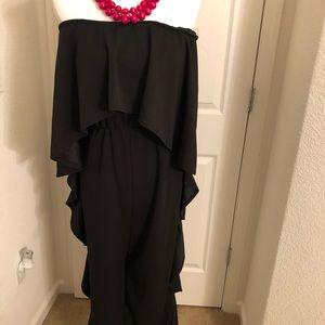 Pants - Black Strapless Wide Leg Pant Suit